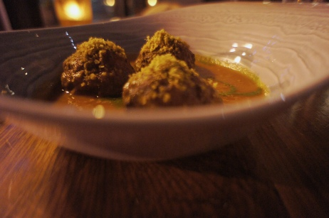Nonna's Meatballs :: stuffed with smoked scamorza, marinara, basil pesto :: Bardea :: Wilmington :: DE
