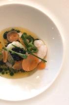 Amuse Bouche - shrimp ceviche with carrots, jalapeño and caviar :: Bouillon Bilk :: Montréal